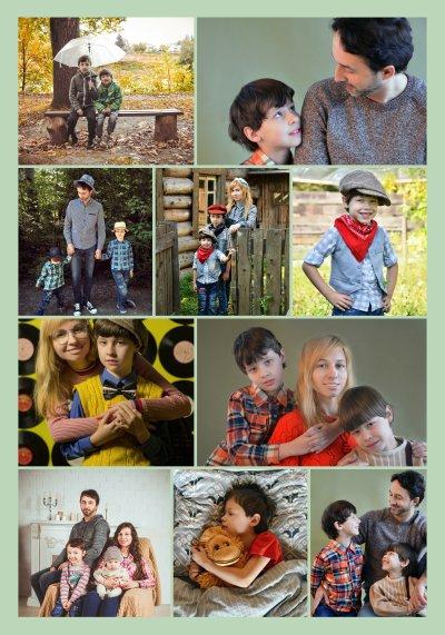 Collage mit Fotos in Reihen angeordnet aus Kinder und Familienfotos