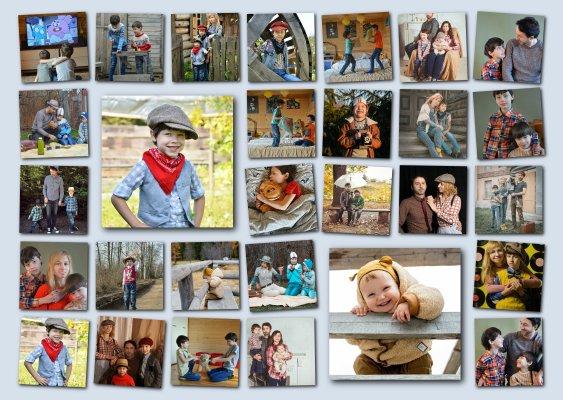 Collage mit hervorgehobenen Fotos aus dem Familienalbum