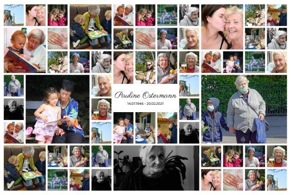 Collage mit vielen Fotos zum Andenken bei Tod
