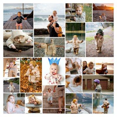 Collage von Kinder oder Baby Fotos aus dem Familienalbum