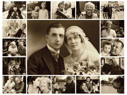 Familienbild als Fotocollage mit Sepia Effekt grosses Bild in Mitte