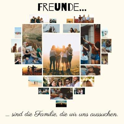 Foto Collage Bilder angeordnet als Herz Freundschaft