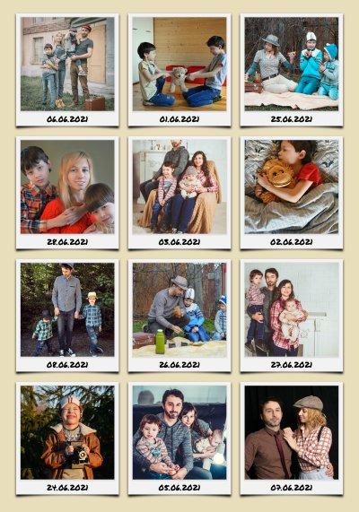 Foto Collage als Raster mit beschrifteten Polaroid Fotos von den Urlaubsbildern