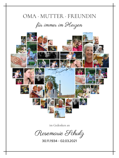 Fotocollage als Erinnerung für Beerdigung als Herz hell