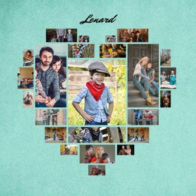 Fotocollage als Herz mit Familienbildern