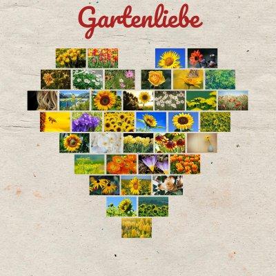 Fotocollage als Herz mit Gartenbildern