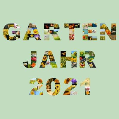 Fotocollage als Text angeordnet Garten Jahr 2021