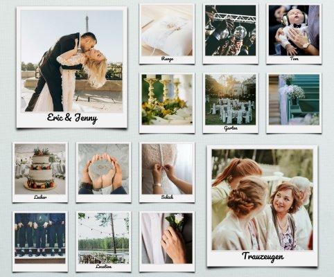 Fotocollage als kreative Idee zur Hochzeit mit beschrifteten Polaroid Bildern