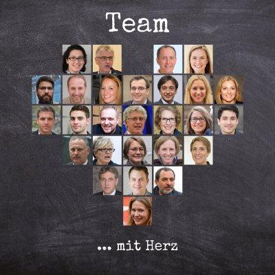 Fotocollage der Kollegen und Mitarbeiter in Herzform