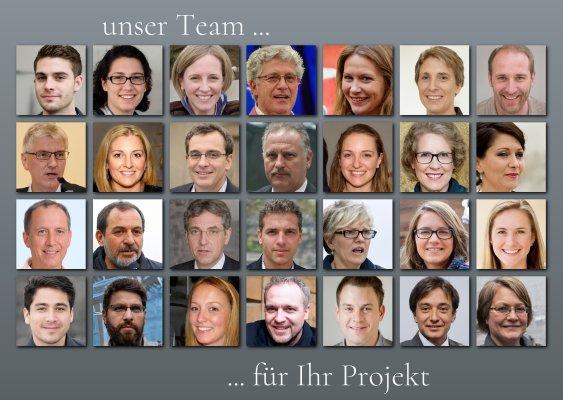 Fotocollage mit Fotos aller Mitarbeiter als Teambild