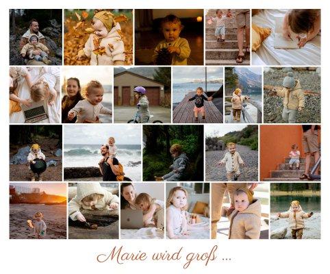 Fotocollage mit Kinderbildern mit vielen Bildern als Reihe angeordnet