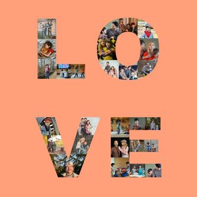 Fotocollage mit Schriftzug LOVE als vier Buchstaben für Familienbilder