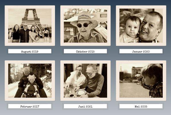 Fotocollage mit beschrifteten Bildern im Retro Stil