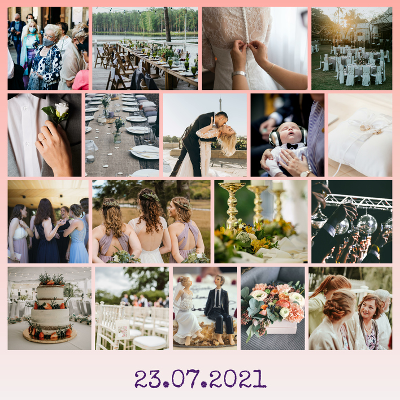 Fotos der Hochzeit als Fotocollage mit Datum als Beschriftung