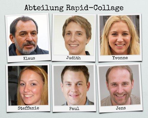 Fotos der Mitarbeiter als Team oder Abteilungsbild mit Beschriftung