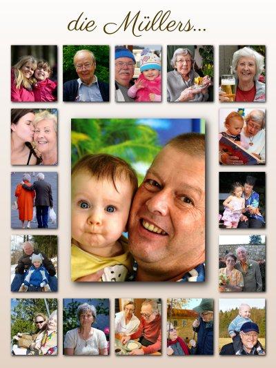 Fotos der Verwandschaft als kreative Collage angeordnet mit Text und Hintergrund