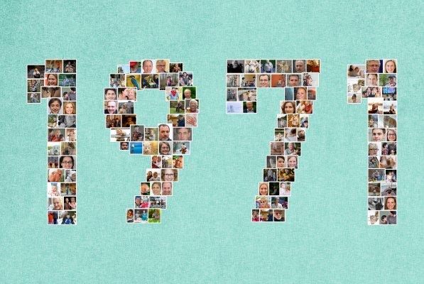 Geburtsjahr mit Zahlen als Fotocollage als kreative Geschenkidee