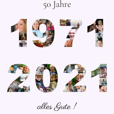 Geburtsjahr und Geburtstag als Fotocollage mit Zahlen und Text