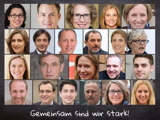 Gruppenfoto oder Teambild als Fotocollage mit Beschriftung