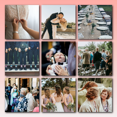 Hochzeitscollage als Raster mit schattierten Bildern als Erinnerung