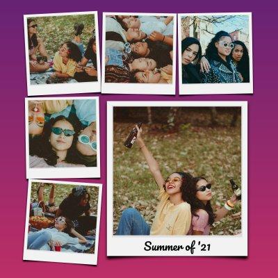 Knallige Fotocollage mit Polaroid Bildern und tollem Hintergrund