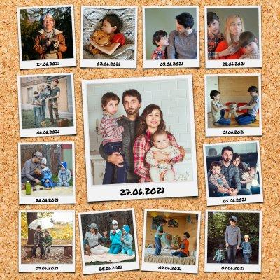 Kreative Collage mit beschrifteten Polaroid Fotos auf Pinnwand