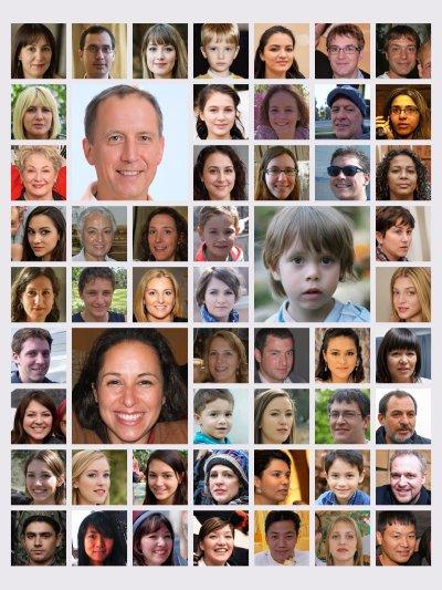 Portraitbilder als Fotocollage angeordnet