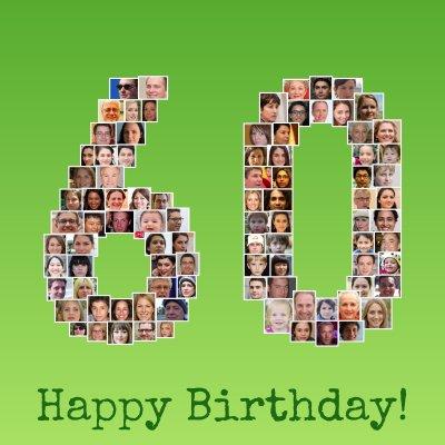 Runder Geburtstag Fotocollage als Zahl 60 mit vielen Bildern