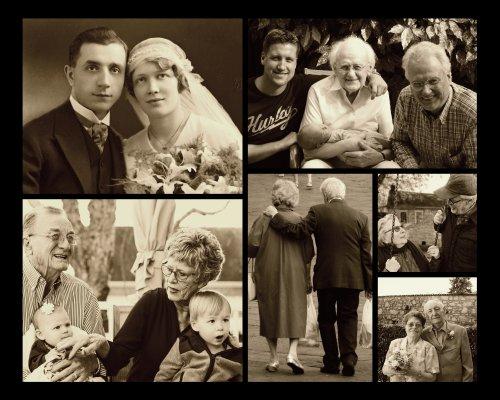 Sepia Effekt bei Fotocollage mit alten Familienbildern