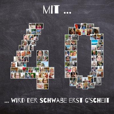 Zahl 40 als Fotocollage mit vielen Bildern als Geburtstagsgeschenk