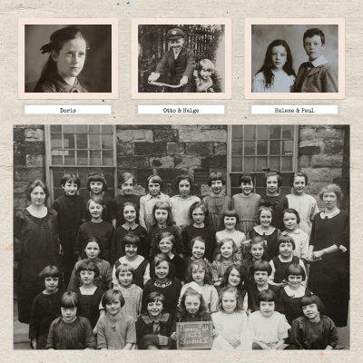 alte Schwarzweissfotos und Klassenfotos als Fotocollage wiederbelebt