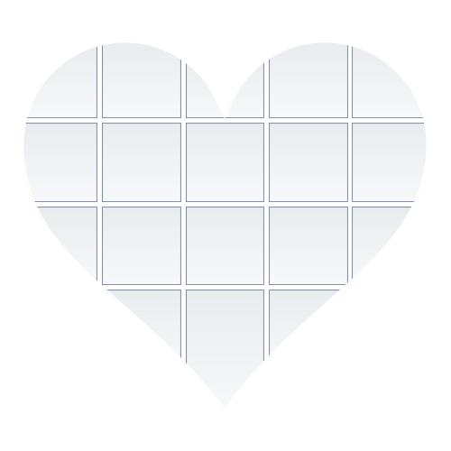 Fotocollage Vorlage Layout Herz (Kontur) mit 18 Bildern (heart_shape_18)